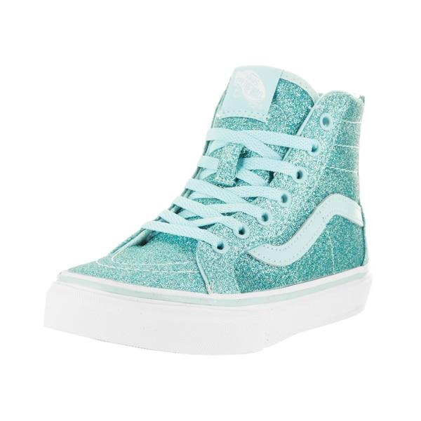 efea56d232 Shop Vans Kids Sk8-Hi Zip (Shimmer) Blue Skate Shoes - Free Shipping ...