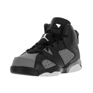 Nike Jordan Kids' Jordan 6 Retro Black, White, and Grey Nubuck Basketball Shoes