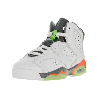 Nike Jordan Kids' Jordan 6 Retro White, Green, and Orange Synthetic Leather Basketball Shoes
