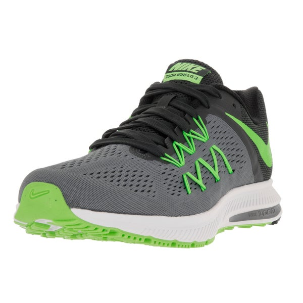a749950fa1f2 ... Men s Athletic Shoes. Nike Men  x27 s Zoom Winflo 3 Cl Grey Elctrc Grn  Anthrct Blk