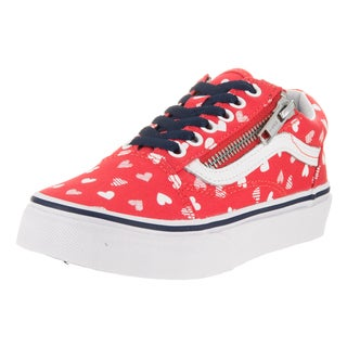 Vans Kids' Old Skool Zip Hearts Hibiscus and True White Canvas Skate Shoes