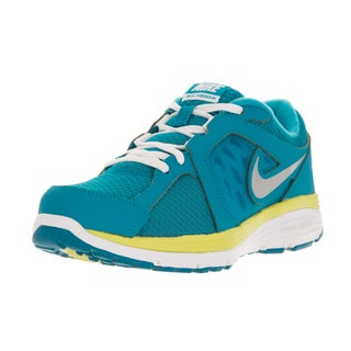 Nike Kids' Dual Fusion Blue, Metallic Silver, White, and Electric Yellow Mesh Running Shoes