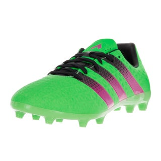 Adidas Kids' Ace 16.3 FG/AG J Green, Pink, and Black Plastic Soccer Cleats
