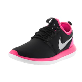 Nike Kids' Roshe Two (GS) Black, Platinum, and Pink Textile Running Shoes
