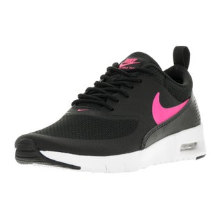 Nike Kids' Air Max Thea Black, Hyper Pink, and White Mesh Running Shoes