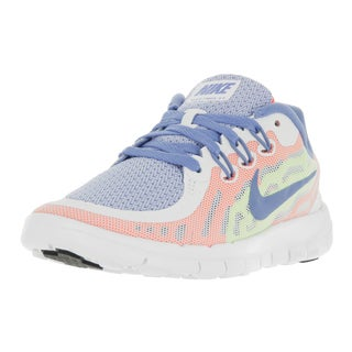 Nike Kids Free 5 (PS) White/Chalk Blue/Volt/White Running Shoe