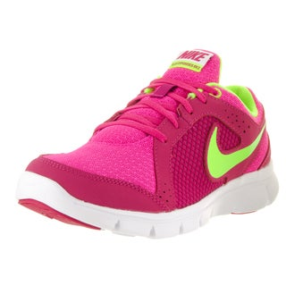 Nike Kids' Flex Experience Pink Foil and White Mesh Running Shoes