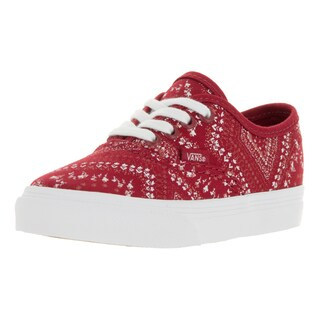 Vans Toddlers' Authentic (Ditsy Bandana) Red and White Canvas Skate Shoes