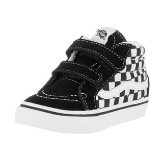 Vans Toddlers' Sk8-Mid Reissue V Checkerboard Black and True White Suede Skate Shoes