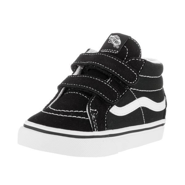 Shop Vans Toddlers' Sk8 Mid Reissue V Black and White Suede