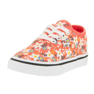 Vans Toddler's Authentic Floral Pop Living Coral Canvas Skate Shoes