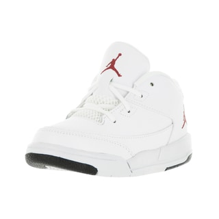 Nike Jordan Toddlers' Jordan Flight Origin 3 White, Gym Red, and Black Synthetic Leather Basketball Shoes