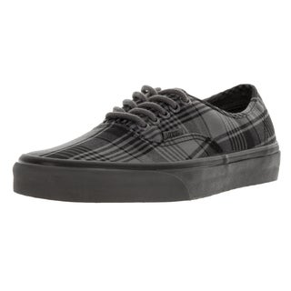 Vans Unisex Authentic (Plaid Overdyed) Pewter/Black Skate Shoe