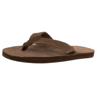 Rainbow Men's Dark-brown Leather Single-layer Premier Sandals