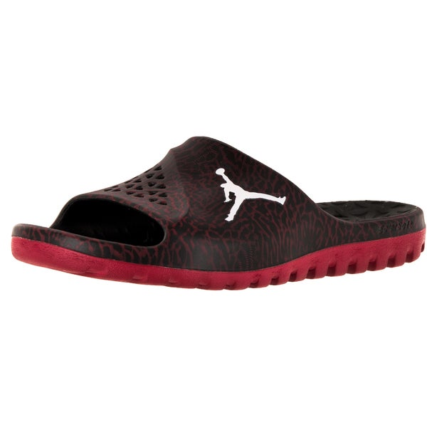 2c17cfe36e9fdd Shop Nike Jordan Men s Jordan Super Fly Team Slide Black White Gym ...