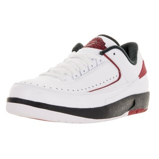 Nike Jordan Men's Air Jordan 2 Retro Low White, Varsity Red, and Black Leather Basketball Shoes