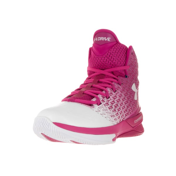 a4a8627222ce Under Armour Men  x27 s Clutchfit Drive 3 Pink and White Fabric Basketball  Shoes