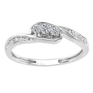 18k Gold 1/4ct TDW Round White Diamond 3 Stone Engagement Ring (I-J, I2-I3)