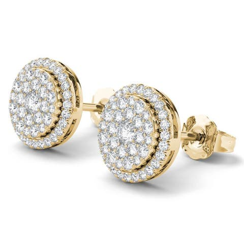 De Couer 14K Yellow Gold 1/2ct TDW Diamond Halo Earrings