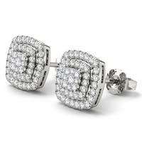 De Couer  IGI Certified 14K White Gold 1/2ct TDW Diamond Halo Earrings - White H-I