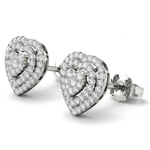 De Couer IGI Certified 10K White Gold 1/3ct TDW Diamond Heart Shape Earrings - White H-I