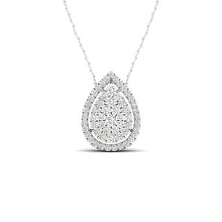 De Couer 10K White Gold 1/3ct TDW Diamond Halo Necklace (H-I, I2)