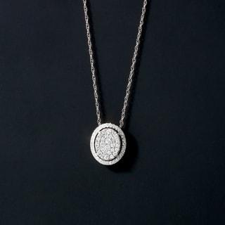 De Couer 14K White Gold 1/3ct TDW Diamond Halo Necklace (H-I, I2)