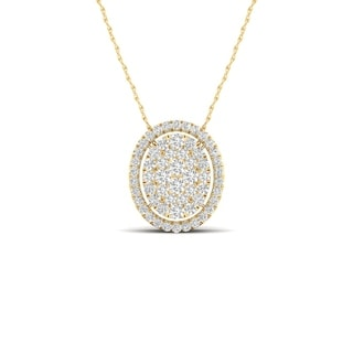 De Couer 14K Yellow Gold 1/3ct TDW Diamond Halo Necklace (H-I, I2)