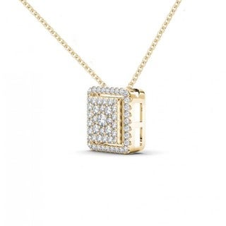 De Couer 10K Yellow Gold 1/3ct TDW Diamond Halo Necklace (H-I, I2)