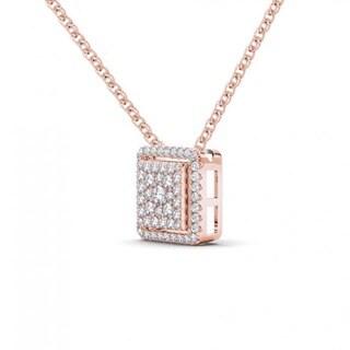 De Couer 10K Rose Gold 1/3ct TDW Diamond Halo Necklace (H-I, I2)