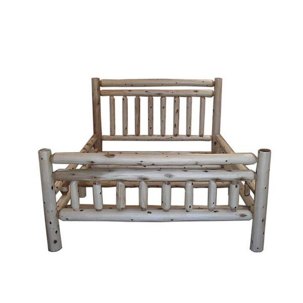 Shop White Cedar Log Rustic Bed Free Shipping Today