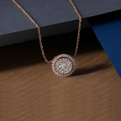 De Couer IGI Certified 14K Rose Gold 1/3ct TDW Diamond Halo Necklace - Pink