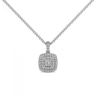 De Couer 10K White Gold 1/4ct TDW Diamond Halo Necklace (H-I, I2)