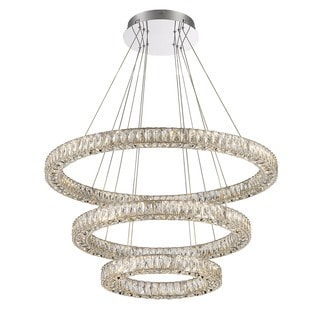 Lumenno Alize Collection 3-tier Chrome Crystal Dimmmable LED Pendant