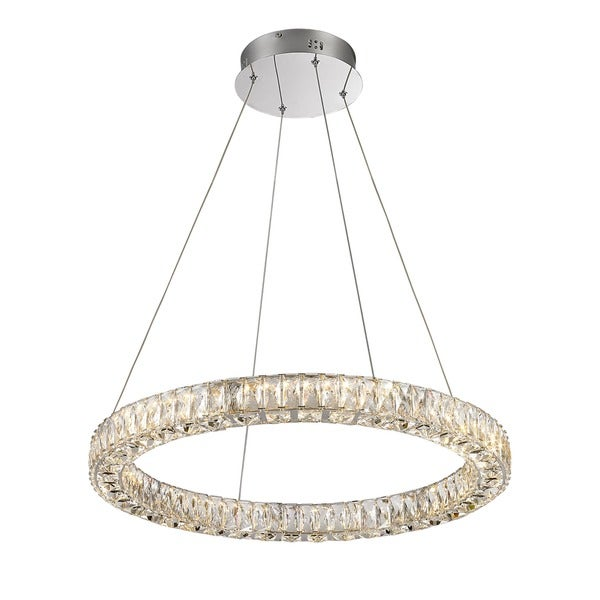 Lumenno Alize Collection Chrome/Crystal Dimmmable LED Pendant Light - Chrome