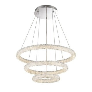 Lumenno Bellini Collection 3-tier Chrome/Crystal Dimmmable LED Pendant