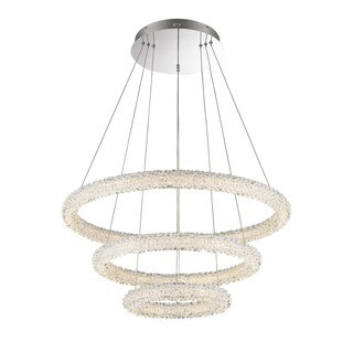 Lumenno Bellini Collection 3-tier Chrome/Crystal Dimmmable LED Pendant - Chrome