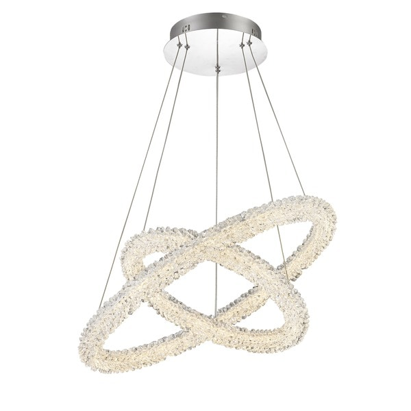 Lumenno Bellini Collection Chrome/ Crystal 2-tier Dimmmable LED Pendant Light