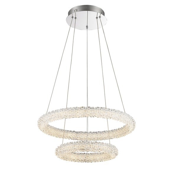 Lumenno Bellini Collection Chrome/ Crystal 2-tier Dimmmable LED Pendant - Chrome