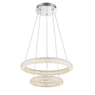 Lumenno Bellini Collection Chrome/ Crystal 2-tier Dimmmable LED Pendant