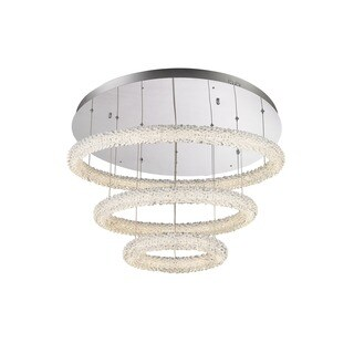 Lumenno Bellini Collection Steel and Crystal 3-tier Dimmmable LED Flush Mount Pendant
