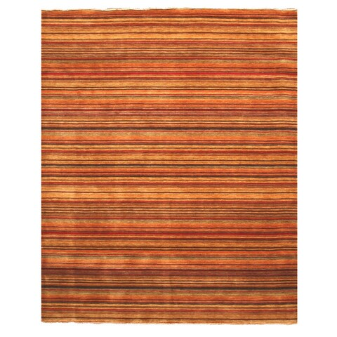 Handmade Wool Transitional Stripe Lori Toni Rug - Multi - 5' x 8'