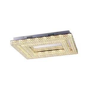 Lumenno Midori Collection Chrome/Crystal Dimmable LED Square Flush Mount