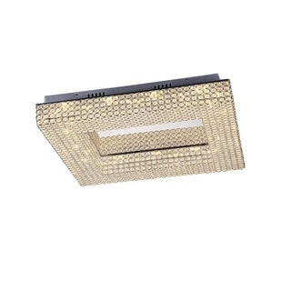 Lumenno Henny Collection Chrome and Crystal Dimmable LED Square Flush Mount Light
