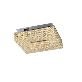 Lumenno Henny Collection Chrome/Crystal Dimmable LED Square Flush Mount