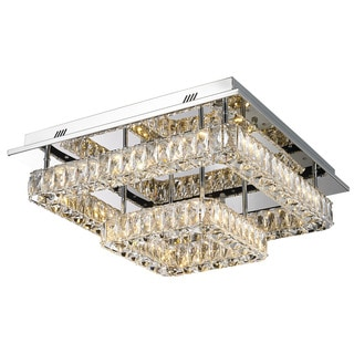 Lumenno Gibson Collection Silvertone Steel/ Crystal 2-tier Flush Mount Light Fixture