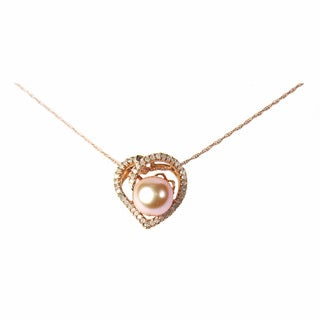 Pearl Lustre 14k Rose Gold Heart of Pearl and 1/4ct TDW DiamondsPendant with Chain (I, SI2)