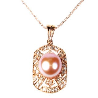 Pearl Lustre 14k Rose Gold Art Deco Pearl and Diamond Pendant