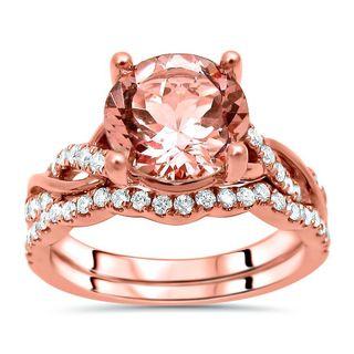 Noori 14k Rose Gold 1 3/5ct. TGW Round-cut Morganite and 2/5ct. TDW Diamond Engagement Ring Set - Pink