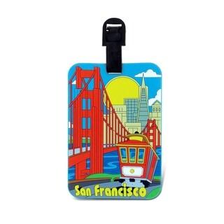 Puzzled San Francisco Multicolor Plastic Luggage Tag